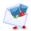Envelope with rose and photography