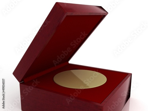 Golden medal in red gift box