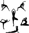 Set of silhouettes yoga asans