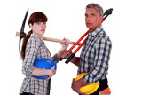 Father and daughter starting construction project together