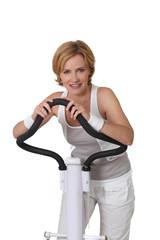 Woman on exercise machine