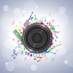 musique-notes et enceinte