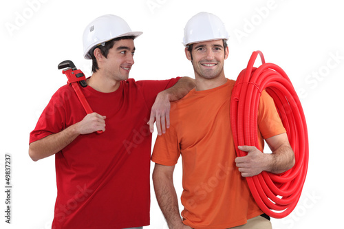 Two plumber friends