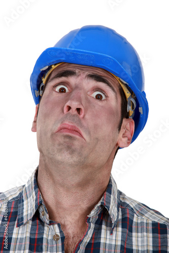 A fearful construction worker