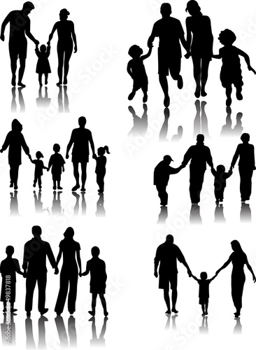 Family Silhouettes with shadow