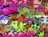 Graffiti wall art background. Hip-hop style seamless texture pat - 49838077