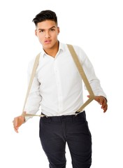 hispanic boy play with suspender