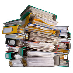 piles of file binder with documents