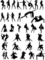 silhouettes of  dancing couple and girls