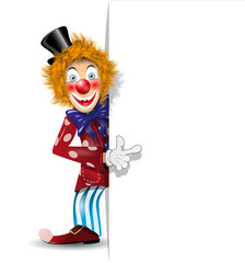 cheerful clown and white background