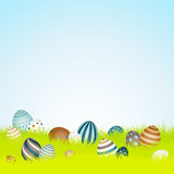 Easter Background Meadow 16 Retro Easter Eggs Sky