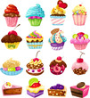 set of cute cake
