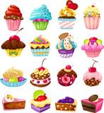 set of cute cake