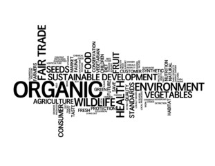 """""""ORGANIC"""" Tag Cloud (fruit vegetables quality green healthy)"""
