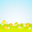 Easter Background Meadow Easter Eggs Yellow/Orange Sky