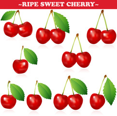 Ripe Sweet Cherry with stem and reflection on white