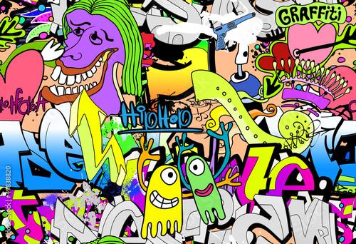 Graffiti wall art background. Hip-hop style seamless texture pat - 49838820