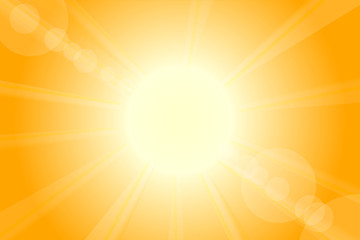 Summer hot vector sun with lens flare