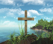 wooden cross on the island