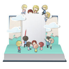 Notebook with several children printed on open book.