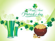 abtract green clover background with beer