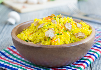 Shaffron rice with mushrooms