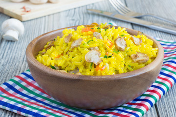 Vegetarian rice with mushrooms