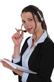 Telephony operator with notebook