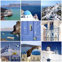 Collage carré île de Santorin, Cyclades, Grèce