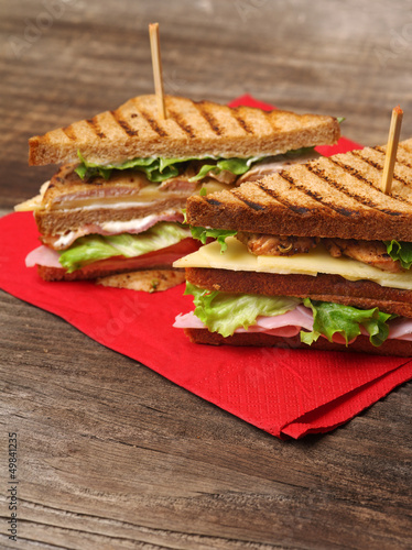 Club sandwich on napkin
