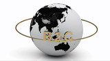 B2C on a gold ring rotates around the earth poster