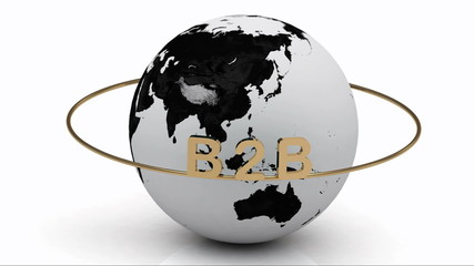 B2B on a gold ring rotates around the earth