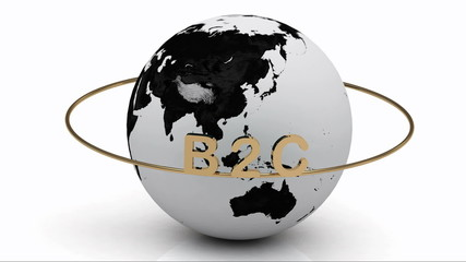 B2C on a gold ring rotates around the earth