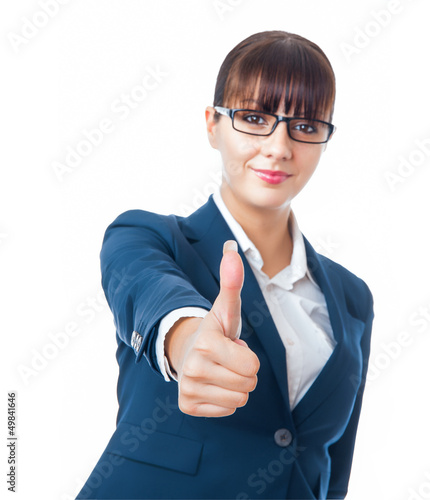 Portrait of beautiful young businesswoman with thumbs up