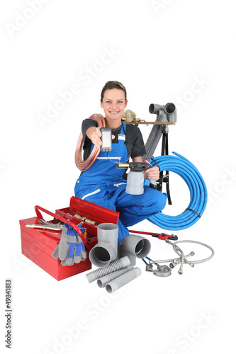 woman plumber with phone