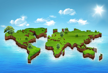 World map background with grass field