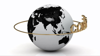 Course on a gold ring rotates around the earth