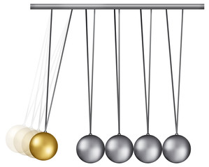 Palle di Newton acciaio e oro