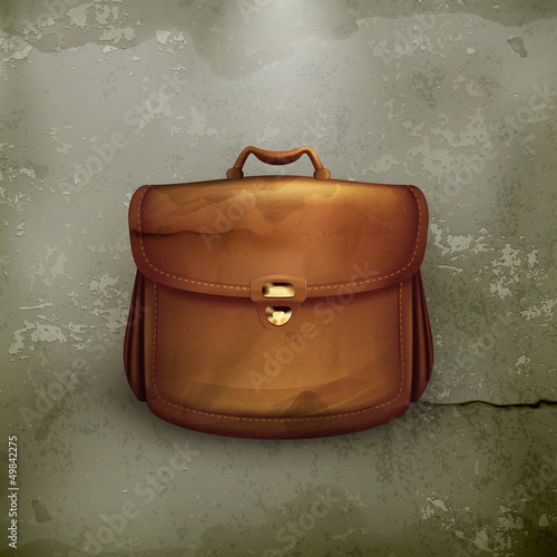 Vector brown briefcase, old-style