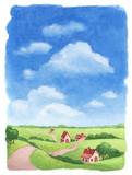 Fototapety Watercolor rural landscape