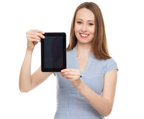 Woman presenting her digital tablet