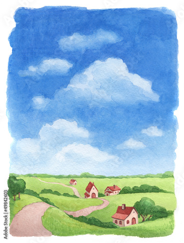 Watercolor rural landscape