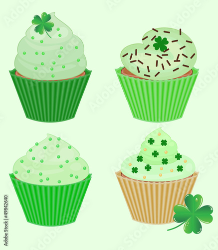 collection of vector St. Patrick's cupcakes