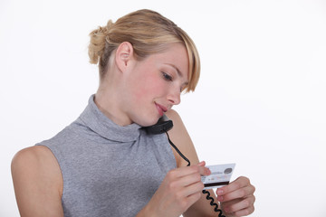 Woman telephone shopping