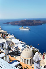 Santorini with churches and sea-view in Greece