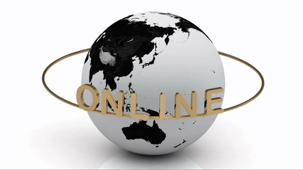 ONLINE on a gold ring rotates around the earth