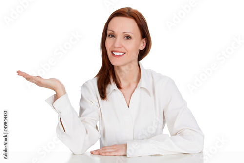 Business woman holding something on her hand, isolated on white