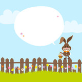 Bunny On Fence Holding Easter Basket Speech Bubble