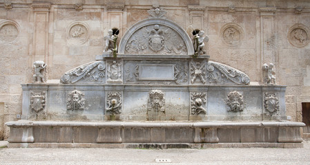 Fountain at the Entrance of Alhambra, Granada in Spain.