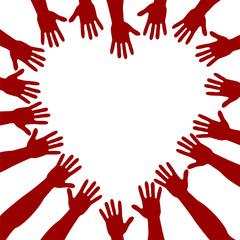 rote Hände formen eine Herz